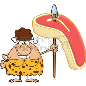 smiling brunette cave woman cartoon mascot character holding a spear with big raw steak vector illustration clipart. Royalty-free image # 399092