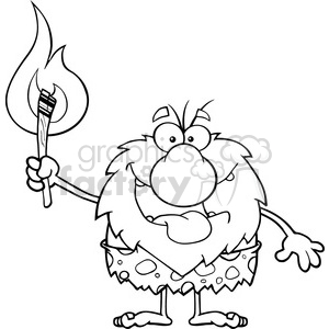 black and white smiling male caveman cartoon mascot character holding up a fiery torch vector illustration clipart. Commercial use image # 399102