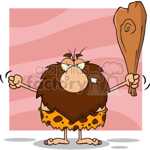 grumpy male caveman cartoon mascot character holding up a fist and a club vector illustration isolated on pink background clipart. Royalty-free image # 399122