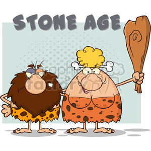 caveman couple cartoon mascot characters with woman holding a club and text stone age vector illustration with text stone age clipart. Royalty-free image # 399202