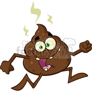 royalty free rf clipart illustration funny poop cartoon character running vector illustration isolated on white backgrond clipart. Commercial use image # 399212