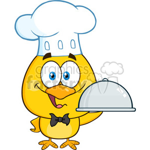 royalty free rf clipart illustration happy chef yellow chick cartoon character holding a cloche platter vector illustration isolated on white clipart. Royalty-free image # 399222