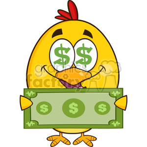 royalty free rf clipart illustration cute yellow chick cartoon character with dollar symbol eyes, holding cash money vector illustration isolated on white clipart. Commercial use image # 399242