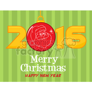 9026 royalty free rf clipart illustration merry christma and happy new year greeting with christmas ball and golden nubers vector illustration greeting card clipart. Royalty-free image # 399262