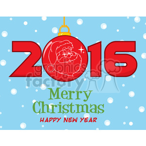 royalty free rf clipart illustration mery christma and happy new year greeting with christmas ball and nubers vector illustration greeting card