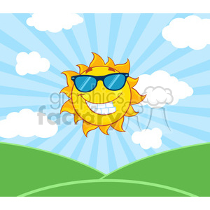royalty free rf clipart illustration sunshine smiling sun mascot cartoon character with sunglasses over landscape vector illustration with suburst background clipart. Royalty-free image # 399292
