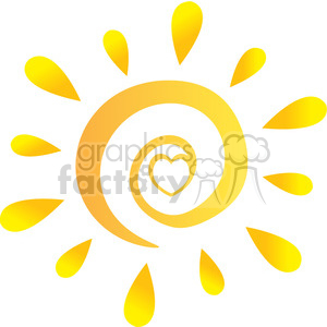royalty free rf clipart illustration abstract sun with heart in gradient vector illustration isolated on white background clipart. Royalty-free image # 399303