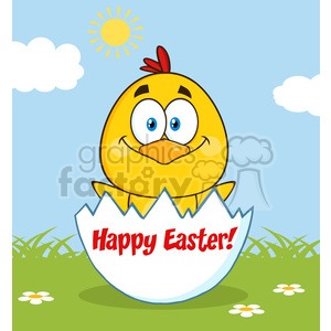 royalty free rf clipart illustration happy yellow chick cartoon character hatching from an egg vector illustration greeting card clipart. Commercial use image # 399331