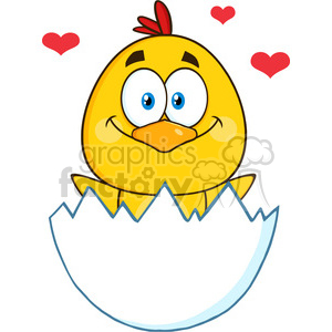 royalty free rf clipart illustration happy yellow chick cartoon character hatching from an egg with hearts vector illustration isolated on white clipart. Commercial use image # 399351