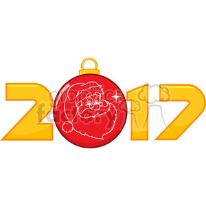 2017 new years eve greeting with christmas ball and santa face golden nubers vector clipart. Royalty-free image # 399361