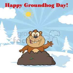 royalty free rf clipart illustration happy marmmot cartoon character waving in groundhog day vector illustration greeting card clipart. Royalty-free image # 399371