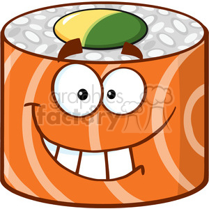 illustration smiling sushi roll cartoon mascot character vector illustration isolated on white clipart. Commercial use image # 399381