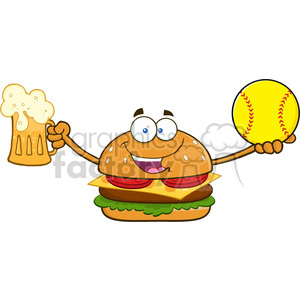 illustration happy burger cartoon mascot character holding a beer and softball vector illustration isolated on white background clipart. Royalty-free image # 399391