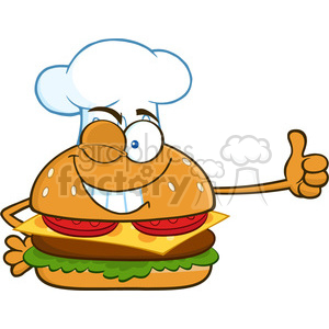 illustration winking chef burger cartoon mascot character showing thumbs up vector illustration isolated on white background clipart. Royalty-free image # 399401