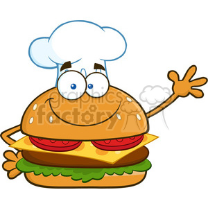 illustration smiling chef burger cartoon mascot character waving for greeting vector illustration isolated on white background clipart. Royalty-free image # 399421