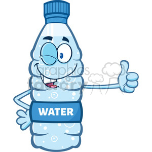 illustration cartoon ilustation of a water plastic bottle mascot character winking and holding a thumb up vector illustration isolated on white background clipart. Commercial use image # 399452
