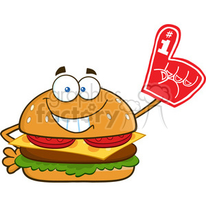 illustration smiling burger cartoon mascot character showing a number 1 foam finger vector illustration isolated on white background clipart. Royalty-free image # 399472