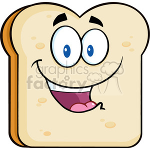 illustration happy bread slice cartoon character vector illustration isolated on white background clipart. Royalty-free image # 399482