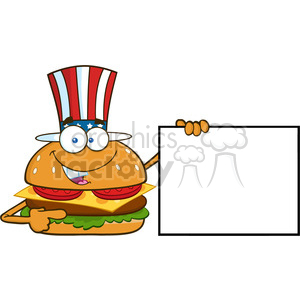 illustration american burger cartoon mascot character pointing to a blank sign banner vector illustration isolated on white background clipart. Commercial use image # 399502