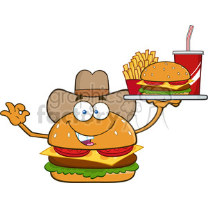 illustration cowboy burger cartoon mascot character holding a platter with burger, french fries and a soda vector illustration isolated on white background clipart. Royalty-free image # 399522