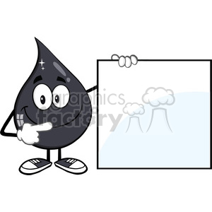 royalty free rf clipart illustration happy petroleum or oil drop cartoon character holding and pointing to a blank sign vector illustration isolated on white background clipart. Royalty-free image # 399552