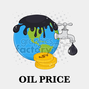 royalty free rf clipart illustration oil pouring over earth with faucet and petroleum drop design vector illustration with background and text oil price clipart. Royalty-free image # 399577