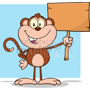 royalty free rf clipart illustration smiling monkey cartoon character holding up a blank wood sign vector illustration with bacground isolated on white clipart. Royalty-free image # 399627