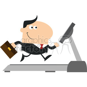 royalty free rf clipart illustration smiling businessman cartoon character with briefcase running on a treadmill modern flat design vector illustration isolated on white clipart. Royalty-free image # 399637