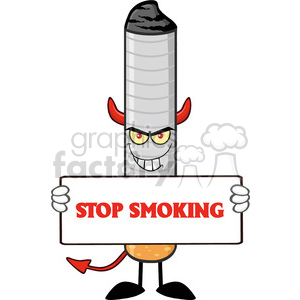 devil cigarette cartoon mascot character with sinister expression holding a sign vector illustration with text stop smoking isolated on white background clipart. Royalty-free image # 399647