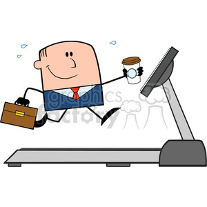 royalty free rf clipart illustration smiling businessman cartoon character running on a treadmill vector illustration isolated on white clipart. Royalty-free image # 399685