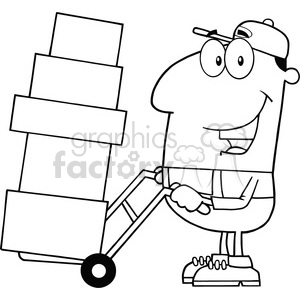 black and white delivery man cartoon character using a dolly to move boxes vector illustration with isolated on white clipart. Commercial use image # 399705