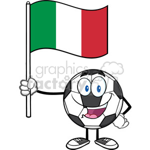 happy soccer ball cartoon mascot character holding a flag of italy vector illustration isolated on white background