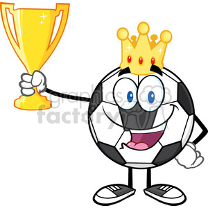 king soccer ball cartoon character with crown holding a golden trophy cup vector illustration isolated on white background clipart. Royalty-free image # 399725