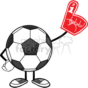 soccer ball faceless cartoon mascot character wearing a foam finger vector illustration isolated on white background clipart. Commercial use image # 399735