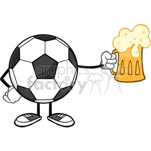 soccer ball cartoon mascot character holding a beer glass vector illustration isolated on white background clipart. Royalty-free image # 399745