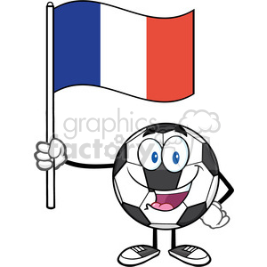 happy soccer ball cartoon mascot character holding a flag of france vector illustration isolated on white background clipart. Royalty-free image # 399755