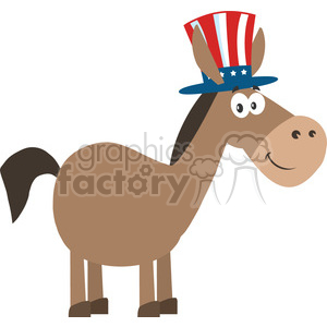 democrat donkey cartoon character with uncle sam hat vector illustration flat design style isolated on white clipart. Royalty-free image # 399805