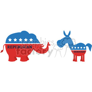 funny political elephant republican vs donkey democrat vector illustration flat design style isolated on white clipart. Royalty-free image # 399835