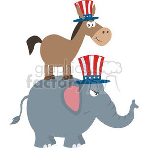 smiling donkey democrat over angry elephant republican vector illustration flat design style isolated on white clipart. Royalty-free image # 399845