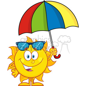 10126 cute sun cartoon mascot character holding a umbrella vector illustration isolated on white background clipart. Royalty-free image # 399856