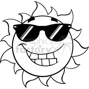 black and white smiling summer sun cartoon mascot character with sunglasses vector illustration isolated on white background clipart. Royalty-free image # 399876