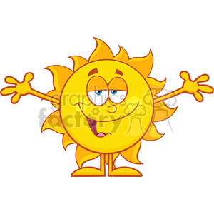smiling loving sun cartoon mascot character with open arms for hugging vector illustration isolated on white background clipart. Commercial use image # 399886