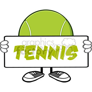 tennis ball faceless cartoon mascot character holding a blank sign vector illustration with text tennis isolated on white background clipart. Commercial use image # 399896