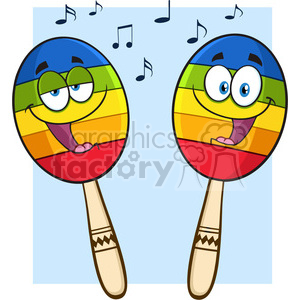 two colorful mexican maracas cartoon mascot characters singing vector illustration isolated on white background with notes clipart. Royalty-free image # 399906
