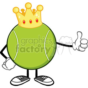 king tennis ball faceless cartoon mascot character with golden crown giving a thumb up vector illustration isolated on white background clipart. Commercial use image # 399936