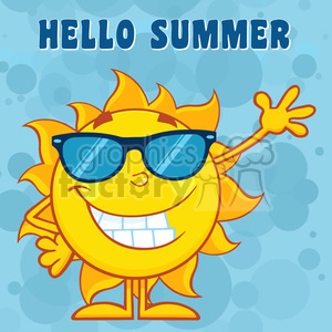 10112 happy sun cartoon mascot character with sunglasses waving for greeting with text hello summer vector illustration with blue background clipart. Commercial use image # 399966
