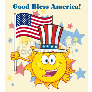 cute sun cartoon mascot character with patriotic hat holding an american flag vector illustration with background text good bless america clipart. Royalty-free image # 399976