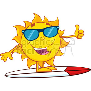 surfer sun cartoon mascot character with sunglasses and showing thumb up vector illustration isolated on white background clipart. Royalty-free image # 399996