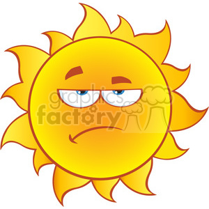 grumpy sun cartoon mascot character with gradient vector illustration isolated on white background clipart. Royalty-free image # 400016
