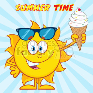 cute sun cartoon mascot character with sunglasses holding a ice cream vector illustration with sunburst background and text summer time clipart. Royalty-free image # 400026
